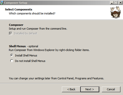 composerInstallation  install shell menu