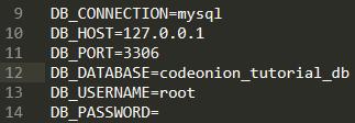 Laravel default phpmyadmin mysql configuration